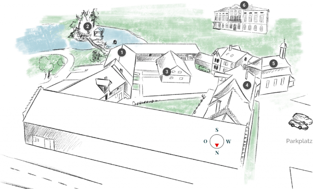 Gutshof Unterbessenbach gezeichnete Karte